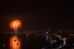 Фестиваль фейерверков Паттайя международный Стоковая Фотография
