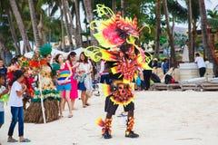 Фестиваль ATI-Atihan на Boracay, Филиппинах Отпразднованное каждое Стоковое Изображение RF