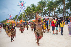 Фестиваль ATI-Atihan на Boracay, Филиппинах Отпразднованное каждое Стоковое фото RF