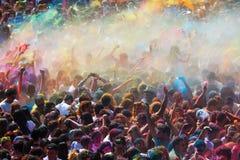 Фестиваль de los colores Holi в Барселоне Стоковое Изображение RF
