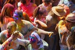 Фестиваль de los colores Holi в Барселоне Стоковая Фотография RF
