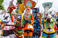 Фестиваль Khon животиков Phi самая большая привлекательность к в противном случае сонной деревне сельского хозяйства Дэн Sai Стоковая Фотография RF