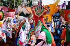 Фестиваль Khon животиков Phi самая большая привлекательность к в противном случае сонной деревне сельского хозяйства Дэн Sai Стоковые Фотографии RF