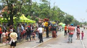 Фестиваль Songkran отпразднован с слонами в Ayutthaya Стоковое фото RF