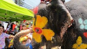 Фестиваль Songkran отпразднован с слонами в Ayutthaya Стоковое Изображение RF