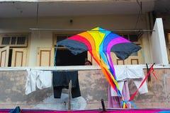 Фестиваль Uttrayan змея/sankranti Гуджарат Makar, Индия Стоковое Изображение RF