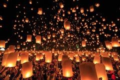 Фестиваль Yee Peng на провинции Chiangmai, Таиланде Стоковые Изображения