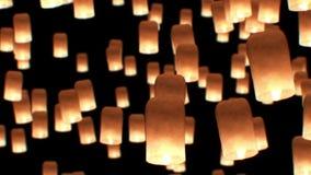 Фестиваль Yeepang фонариков летания красивая анимация 3d HD 1080 конец красит воду взгляда лилии мягкую поднимающую вверх сток-видео