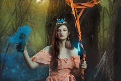 Фея девушки в волшебном лесе Стоковая Фотография RF