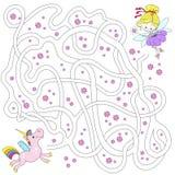 Фея и единорог Лабиринт для детей воспитательные игры Найдите путь также вектор иллюстрации притяжки corel Стоковая Фотография