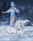 Фея и единорог снега иллюстрация штока