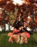 Фея осени с густолиственными крылами на Toadstool полесья осени Стоковые Фото
