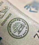 Федеральный резервный банк Индии подписывает внутри новое примечание 500 рупий Стоковые Фотографии RF