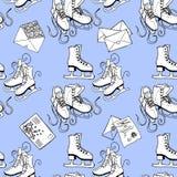 Фигурное катание и письма управлять зимой розвальней потехи картина безшовная Стоковое Изображение RF