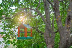 Фидер для птиц сделанных в форме дома в саде стоковые фото