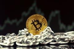 Физическая версия денег и цепи Bitcoin новых виртуальных Стоковая Фотография RF