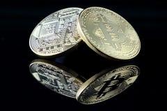 Физическая версия Bitcoin, новых виртуальных денег Стоковые Фото
