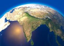 Физическая карта мира, спутниковый взгляд Индии ashurbanipal глобус полусфера Сбросы и океаны иллюстрация вектора