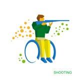 Физически неработающий стрелок Плоский значок спорта кресло-коляскы Стоковое фото RF