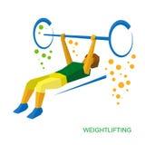 Физически неработающий тяжелоатлет Поднятие тяжестей для людей с Стоковые Изображения