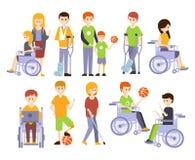 Физически люди с ограниченными возможностями живя польностью счастливой жизни с комплектом инвалидности иллюстраций с усмехаясь в Стоковое Фото