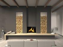 Живущая комната с камином Стоковые Фотографии RF
