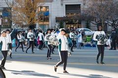 Филадельфия, PA - 23-ье ноября 2017: Ежегодный парад официальный праздник в США в память первых колонистов Массачусетса в разбиво стоковые изображения