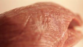 Филе свежего мяса на плите видеоматериал