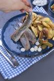 Филе сельдей в женской руке, испеченной в картошках печи и соленьях и луках Очень вкусная традиционная еда Голландии голландско стоковая фотография