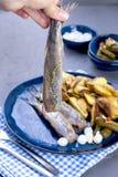 Филе сельдей в женской руке, испеченной в картошках печи и соленьях и луках Очень вкусная традиционная еда Голландии голландско стоковое фото rf