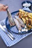 Филе сельдей в женской руке, испеченной в картошках печи и соленьях и луках Очень вкусная традиционная еда Голландии голландско стоковые изображения