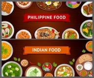 Филиппинская и индийская кухня азиатская еда иллюстрация штока
