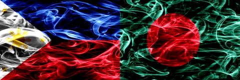 Филиппины против Бангладеша, бангладешские флаги дыма установили сторону - - сторона Толстым покрашенные конспектом шелковистые ф стоковые изображения rf