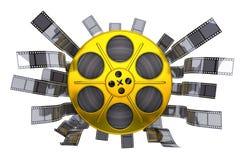 Фильм золота катышкы на белой предпосылке Стоковая Фотография RF