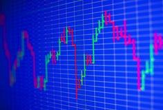 Финансовая диаграмма на экране монитора компьютера График состояния запасов предпосылки Стоковые Изображения