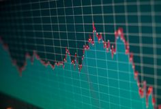 Финансовая диаграмма на экране монитора компьютера Запас c предпосылки Стоковая Фотография RF