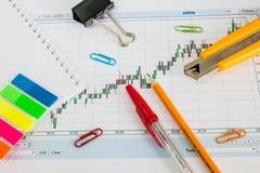 Финансовая диаграмма на белой предпосылке, монетках, ручках, карандашах и бумажных зажимах Стоковое Фото
