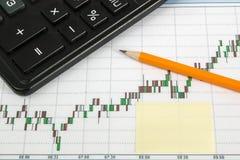 Финансовая диаграмма на белой предпосылке с калькулятором, монетками, ручками, карандашами и бумажными зажимами Стоковая Фотография RF