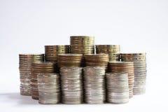 Финансовая концепция, группа в составе стога монетки, бат Таиланда Стоковые Изображения
