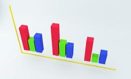 финансовая красочная диаграмма 3D перевод 3d Стоковое Фото