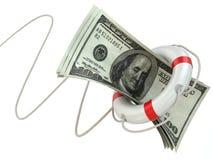 Финансовая помощь. Спасательный жилет и доллары. иллюстрация штока