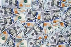 Финансовая предпосылка долларовых банкнот американца 100 Стоковое фото RF