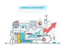 Финансовая фондовая биржа Рынки акций, торговая операция, электронная коммерция, вклады, финансы иллюстрация вектора