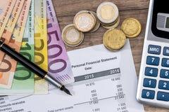 Финансовое вычисление на год, евро Стоковая Фотография