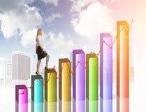 Финансовое небо коммерсантки роста Стоковая Фотография RF