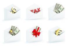 Финансовое письмо 3d установило на белую предпосылку Стоковые Фото