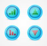 Финансовохозяйственная диаграмма установленная на лоснистые иконы иллюстрация штока