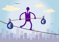 Финансовохозяйственное балансируя евро Иллюстрация вектора