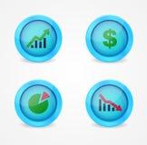 Финансовохозяйственные знаки на лоснистых иконах Стоковое Фото