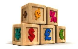 Финансовохозяйственные кубики малыша Стоковая Фотография